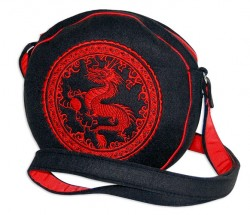 DRAGON T1020 - round  felt bag with embroidery