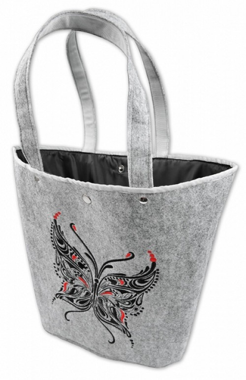 BUTTERFLY T061102 - felt bag/ basket with folk embroidery